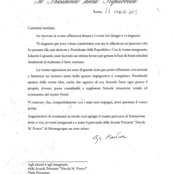 Lettera Presidente della Repubblica